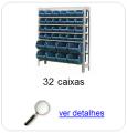 Estante metálica completa com 32 Caixas Plásticas Mistas