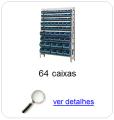 Estante metálica completa com 64 Caixas Plásticas Mistas