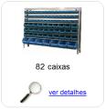 Estante metálica completa com 82 Caixas Plásticas Mistas