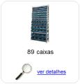 Estante metálica completa com 89 Caixas Plásticas Mistas
