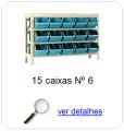 estante metalica porta componentes para 15 caixas plasticas bin numero 6