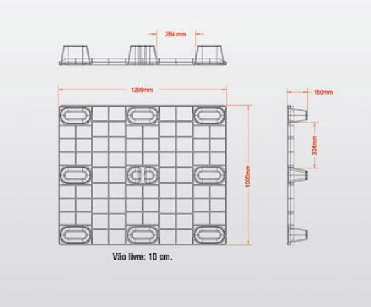 pallet plastico vazado desenho estrutural