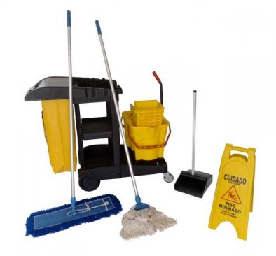 kit completo de limpeza com carro funcional balde espremedor