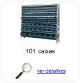 Estante metálica completa com 101 Caixas Plásticas Mistas