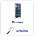 Estante metálica completa com 18 Caixas Plásticas Mistas
