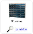 Estante metálica completa com 35 Caixas Plásticas Mistas