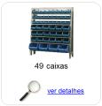 Estante metálica completa com 49 Caixas Plásticas Mistas