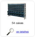 Estante metálica completa com 54 Caixas Plásticas Mistas
