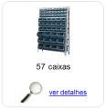 Estante metálica completa com 57 Caixas Plásticas Mistas