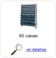 Estante metálica completa com 85 Caixas Plásticas Mistas