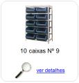 estante metalica porta componentes para 10 caixas plasticas bin numero 9