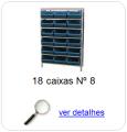 estante metalica porta componentes para 18 caixas plasticas bin numero 8