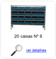 estante metalica porta componentes para 20 caixas plasticas bin numero 8