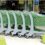 carrinho de supermercado cinza e verde