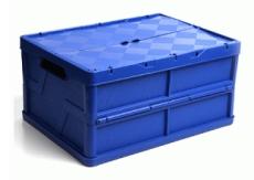 caixa dobravel fechada com tampa azul com a tampa fechada