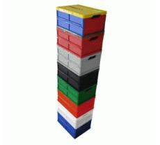 caixa dobravel fechada com tampa empilhadas montadas