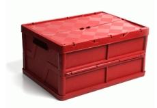caixa dobravel fechada com tampa vermelha