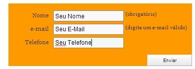 Formulário na página do produto