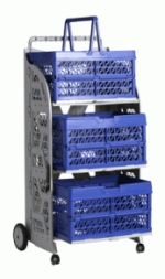 carrinho com caixas dobraveis com as caixas azuis