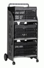 carrinho com caixas dobraveis com as caixas cinza preta
