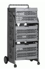 carrinho com caixas dobraveis com as caixas cinza
