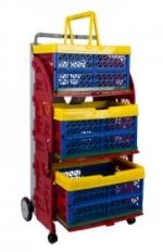 carrinho com caixas dobraveis com as caixas coloridas