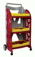 carrinho com caixas dobraveis com as caixas fechadas