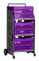 carrinho com caixas dobraveis com as caixas roxas