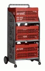 carrinho com caixas dobraveis com as caixas vermelhas