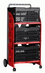 carrinho com caixas dobraveis vermelho e preto