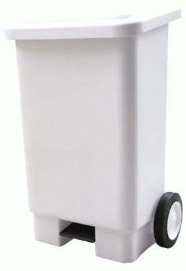 lixeira retangular 100 litros com pedal e rodas